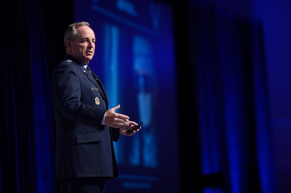 Air Force Chief of Staff Gen. Mark A. Welsh III gives his keynote speech at 2014 Air Force Association's Air and Space Symposium and Technology Exposition, Sept. 16, 2014, in Washington, D.C.  (U.S. Air Force photo/Scott M. Ash)