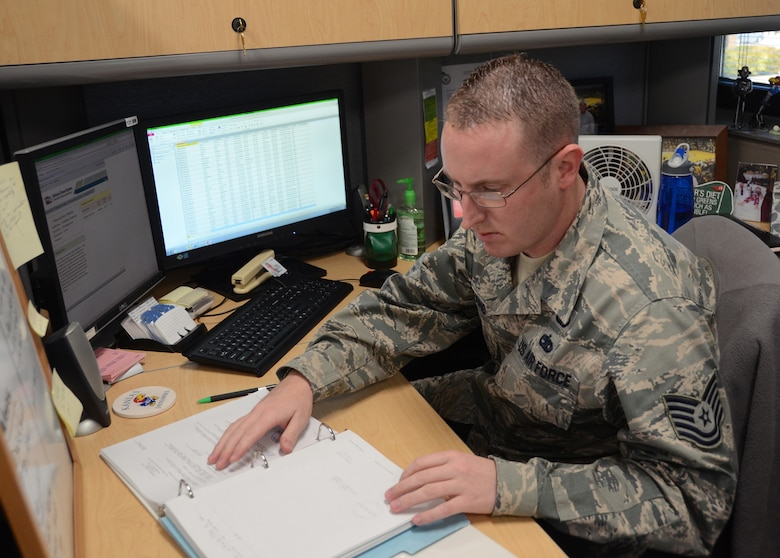 "Tech. Sgt. Blake Enneking, 131st Force Support Squadron personnel systems manager, recently earned a perfect score, in addition to receiving Distinguished Graduate honors during graduation ceremonies at Keesler Air Force Base, Mississippi. ""Along with time management and memorization learning, I was able to show that a Guardsman can accomplish a perfect score,"" said Enneking. (U.S. Air National Guard photo by Staff Sgt. Brittany Cannon)"