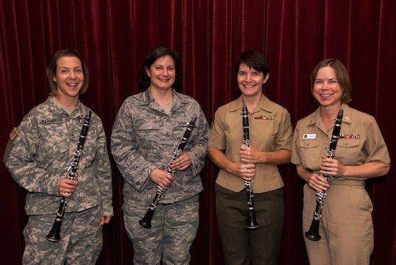 "The Band's first Chamber Players Series performance took place at The Jewish Community Center of Greater Washington at 8 p.m on September 9. It featured a unique Armed Forces Clarinet Quartet. Pictured from left to right: SSG Marlena Dillenbeck from The United States Army Field Band- Concert Band & Soldiers' Chorus, TSgt Ani Berberian, from The United States Air Force Band, GySgt Tracey Paddock, from ""The President's Own"" United States Marine Band, and MUCS Laura Gantier, from The United States Navy Band. (U.S. Air Force photo by Senior Master Sgt. Kevin Burns/released)."