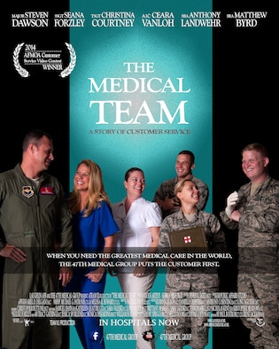 This photo illustration features 47th Medical Group Airmen who played roles in a customer service video on Laughlin Air Force Base, Texas. The 47th Medical Group placed first in the Air Force Medical Operations Agency Air Force-wide video competition, where agencies were challenged to highlight the importance of customer service with installation medical facilities. (U.S. Air Force illustration by Staff Sgt. Steven R. Doty)(U.S. Air Force photo by Airman 1st Class Ariel D. Delgado)(Released)