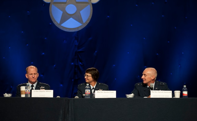 The Nuclear Enterprise Panel members address questions asked by the audience during the Air Force Association Air and Space Conference and Technology Exposition, Washington, D.C., Sept. 16. Panel members included (from left) Lt. Gen. Stephen Wilson, Air Force Global Strike Command commander,   Maj. Gen. Sandra Finen, Air Force Nuclear Weapons Center commander, Kirtland Air Force Base, N.M., Maj. Gen. Garrett Harencak, Assistant Chief of Staff for Strategic Deterrence and Nuclear Integration, Headquarters U.S. Air Force. (U.S. Air Force Photo by Staff Sgt. Carlin Leslie/Released)