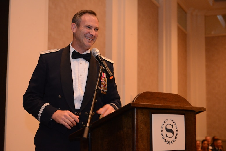 Brig. Gen. Andrew J. Toth is, 36th Wing, Commander delivers a speech at the 67th Annual Air Force Ball, Sept 13, 2014, at The Sheraton Hotel in Tumon, Guam. The Air Force Ball celebrates the creation of the U.S. Air Force as an independent service in 1947, when the Air Force separated from the U.S. Army. (U.S. Air Force Photo by Airman 1st Class Adarius Petty/Released)