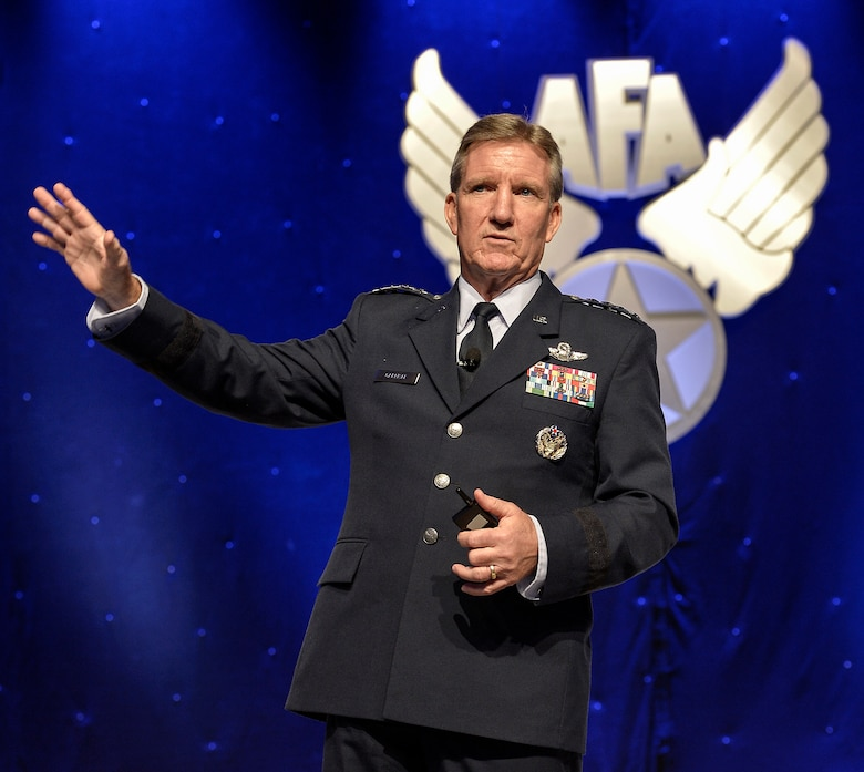 Gen. Hawk Carlisle speaks about the need for seizing opportunities for innovation during his presentation about the at the 2014 Air Force Association's Air & Space Conference and Technology Exposition Sept. 16, 2014, in Washington D.C. Carlisle's presentation described how PACAF's Airmen overcome obstacles by implimenting creative, innovative, transformative processes to find lasting solutions to problems by using existing technology in creative new ways. Carlisle is the commander, Pacific Air Forces; air component commander, U.S. Pacific Command; and executive director, Pacific Air Combat Operations Staff and will soon be the commander of Air Combat Command. (U.S. Air Force photo/Michael J. Pausic)
