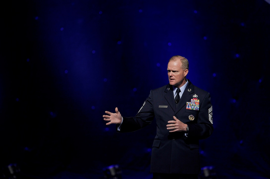 """Chief Master Sergeant of the Air Force James A. Cody provides an """"Enlisted Perspective"""" during the 2014 Air Force Association's Air and Space Conference and Technology Exposition Sept. 16, 2014, in Washington, D.C. Cody focused on the Enlisted Evaluation System, promotions, developing the total force in the coming years, among other issues. (Courtesy photo)"""