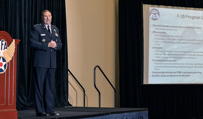 Lt. Gen. Christopher Bogdan addresses an audience about the current state of development and acquisition progress to date concerning the F-35 fighter  at the Sept. 14, 2014, Air Force Association's Air & Space Conference and Technology Exposition in Washington D.C. (U.S. Air  Force photo/Michael J. Pausic)