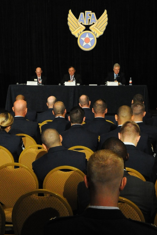 Retired Chief Master Sergeants of the Air Force James McCoy, Frederick Finch and Gerald Murray speak to Airmen about challenges in their career during the Sept. 17, 2014, Air Force Association Air & Space Conference in Washington, D.C. CMSAF is the highest enlisted level of leadership for the Air Force and provides direction for the enlisted force and represents the Airmen's interests, as appropriate, to the American public, and to those in all levels of government. (U.S. Air Force photo/Staff Sgt. Matt Davis)