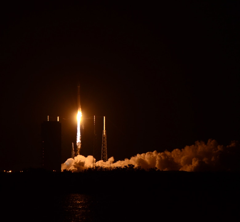An Atlas 5 rocket launches from Cape Canaveral Air Station, Fla., Sept. 16, 2014. The Atlas 5 will deliver a QuikScat Earth satellite and crew supplies to the International Space Station. The QuikScat Earth satellite will monitor ocean winds, and deliver the data for use in weather predictions, including hurricane monitoring.  (U.S. Air Force photo /Master Sgt. Julie Briden-Garcia)