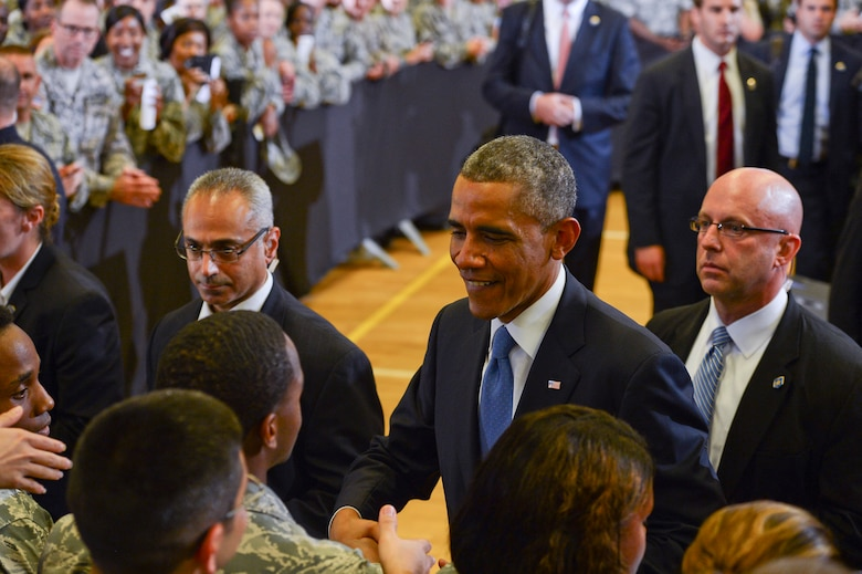 President Barack Obama greets service members following his speech at MacDill Air Force Base, Fla., Sept. 17, 2014. The President thanked the men and women for their service and spoke on how the United States will partner with others in the region to carry out his strategy to degrade and defeat the Islamic State of Iraq and the Levant. (U.S. Air Force photo by Senior Airman Shandresha Mitchell/ Released)