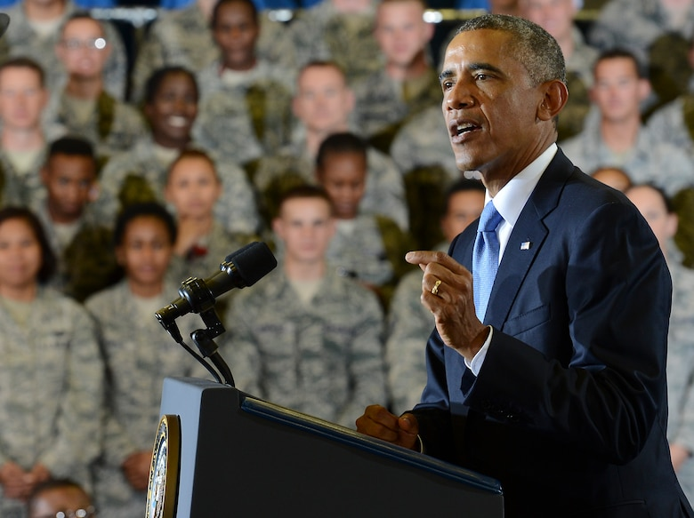 President Barack Obama speaks to members of Team MacDill at the Short Fitness Center on MacDill Air Force Base, Fla, Sept. 17, 2014. The President thanked the men and women for their service and spoke on how the United States will partner with others in the region to carry out his strategy to degrade and defeat the Islamic State of Iraq and the Levant. (U.S. Air Force photo by Senior Airman Shandresha Mitchell/ Released)