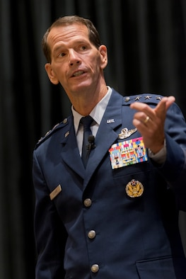 Lt. Gen. Stanley E. Clarke III, director of the Air National Guard addresses an audience during the Air National Guard update at the Air Force Association's Air and Space Conference and Technology Exposition September 15, 2014 in National Harbor, Maryland. Clarke highlighted the ANG's involvement in domestic operations and recognized several ANG Airmen and units for exemplary service during recent combat operations. (Air National Guard photo by Master Sgt. Marvin R. Preston/Released)