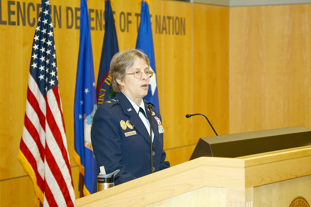 Air Force Maj. Gen. Linda Urrutia-Varhall, assistant deputy chief of staff, Intelligence, Surveillance and Reconnaissance, was the keynote speaker at DIA's Air Force birthday celebration Sept. 18.