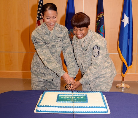 In keeping with tradition, DIA's longest serving and most junior Air Force members cut the cake, celebrating the Air Force's 67th birthday.