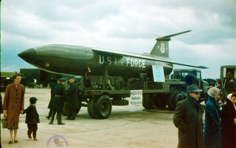In 1956 a B-61 Matador cruise missile belonging to the 585th Tactical Missile Group, 701st Tactical Missile Wing, 12th Air Force, sits on display in Bitburg, Germany. (Courtesy Photo)