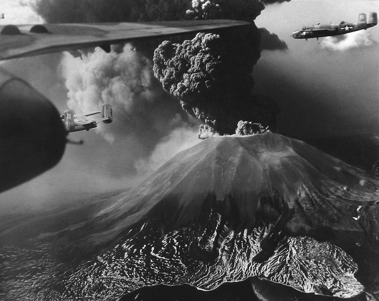 In March 1944 Mt. Vesuvius, Italy erupts as B-25s from 321st Bombardment Group, 12th Air Force fly by. (Courtesy Photo)