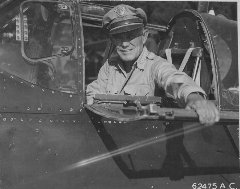 In 1944, 12th AF Commander Maj. Gen. John Cannon prepares for flight in a P-51A. (Courtesy Photo)