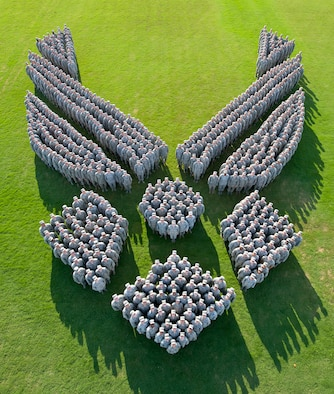 More than 650 Air Force captains from Air University's Squadron Officer School Class 14E at Maxwell Air Force Base, Ala., form-up to make an image of the Air Force Symbol in honor of the 67th Air Force Birthday. (Photo illustration by Donna Burnett)