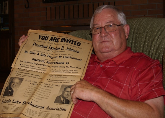 Charles Crumpler holds a copy of the newspaper advertisement taken out by the Eufaula Lake Development Association just before the Eufaula Dam opening ceremony. Richard Crumpler, served as the ELDA president and secretary. He is pictured in the newspaper photo next to Charles' hand. Crumpler. Charles will deliver the same invocation written and read by Harold Baird during the opening ceremony, when he leads the prayer during the 50th Anniversary Celebration of Lake Eufaula, Sept. 25.