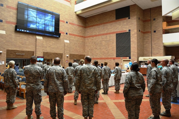 Military service members gather to celebrate the Air Force's 67th birthday Sept. 18, 2014
