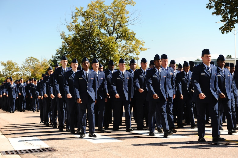 U.S. Air Force Academy Preparatory School cadet candidates exit the Prep School parade field here after a memorial commemorating National POW/MIA Recognition Day Sept. 19, 2014. The third Friday in September was set aside annually beginning in 1998 for this commemoration. (U.S. Air Force photo/Airman 1st Class Rachel Hammes)
