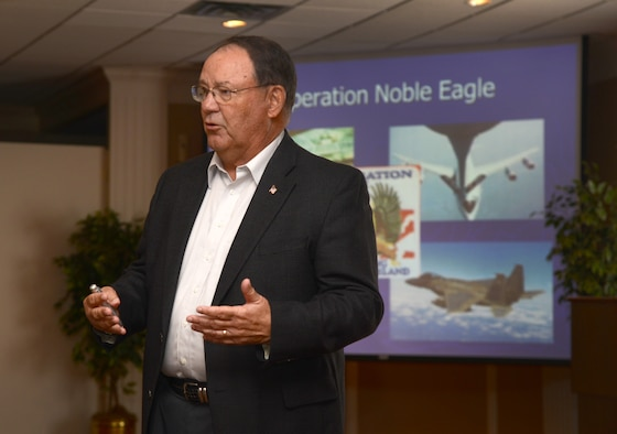 Retired Brig. Gen. Ben Robinson speaks to members of the Logistics Officer Association during a luncheon at the Tinker Club last Thursday.  He spoke about his experiences as the 552nd Air Control Wing commander and about the events at Tinker Air Force Base and with AWACS during 9/11 and the time thereafter.