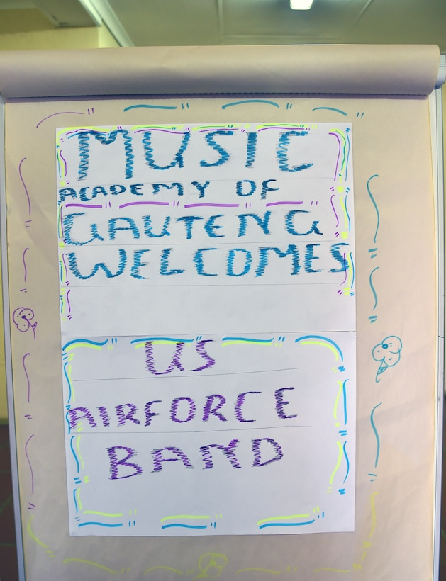 A sign welcoming the U.S. Air Forces in Europe jazz band, Wings of Dixie to the Music Academy of Gauteng in Benoni, South Africa, Sept 18, 2014. The Jazz band gave nearly 150 music students a free, live concert and a two-hour musical workshop aimed at helping the students develop their talent in various musical instruments. (U.S. Air Force photo/Staff Sgt. Travis Edwards-Released)