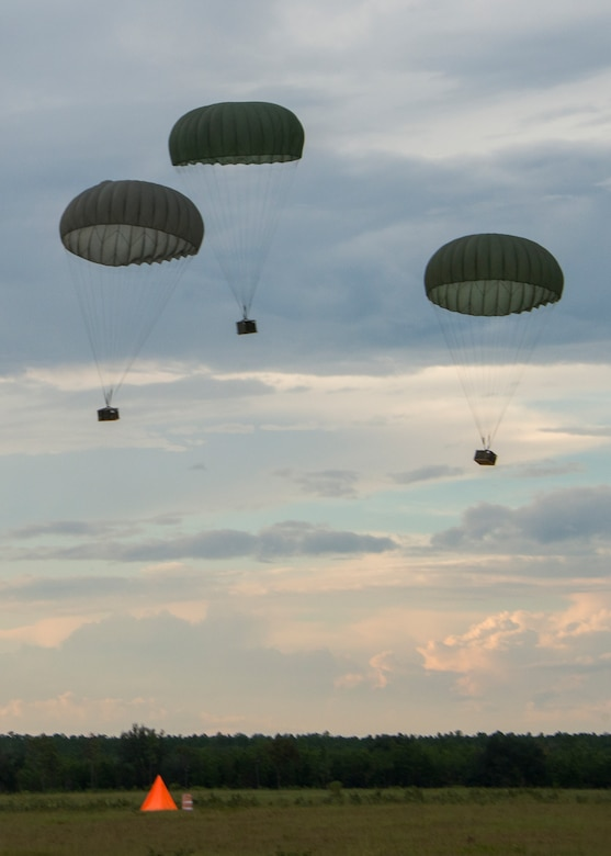 Three low cost low altitude bundles were dropped during a training mission Sept. 15, at Duke Field, Fla.  The Airmen of the SOLRS prepare and load an average of 24 to 48 loads per week to help train pilots and loadmasters from the 5th, 6th, and the 711th Special Operations Squadron. (Air Force photo/Tech. Sgt. Jasmin Taylor)