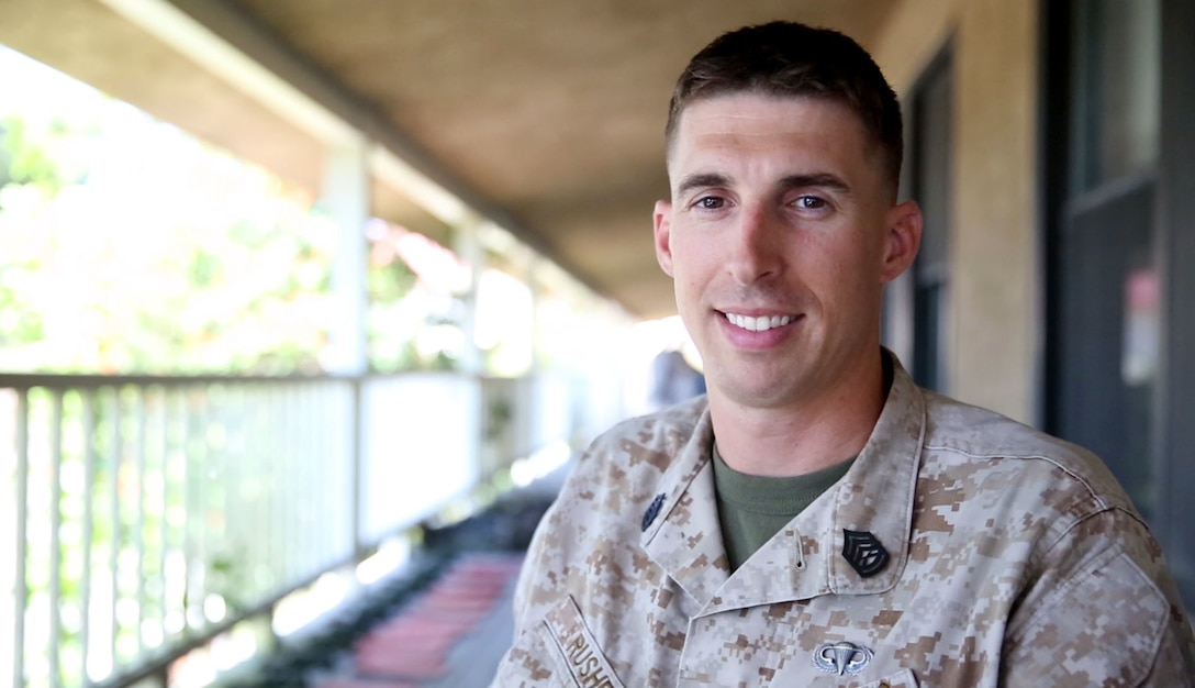Gunnery Sgt. Bradley Rusher, a radio chief with Communications Platoon, Combat Logistics Regiment 1, 1st Marine Logistics Group, of Carthage, S.D., has experienced almost every facet of the Marine Corps during his last 13 years in the military. He started his career working side by side with infantry Marines, then deployed with Explosive Ordnance Disposal technicians, worked with the air wing, did recruiting, trained with a reconnaissance unit and is current working in the logistics field with the MLG. (U.S. Marine Corps photo by Sgt. Laura Gauna/released)