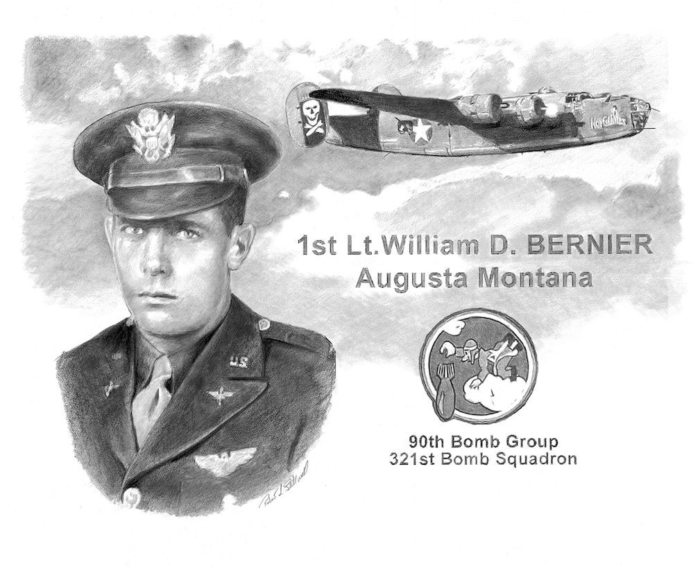 First Lt. William D. Bernier, of Augusta, Mont., was reported missing April 10, 1944, when his B-24D Liberator was shot down over New Guinea while attacking a Japanese-held port. Bernier was assigned to the 90th Bomb Group, 321st Bomb Squadron, and was the bombardier in a 12-man crew that day. (Air Force graphic/Robert Stillwell)