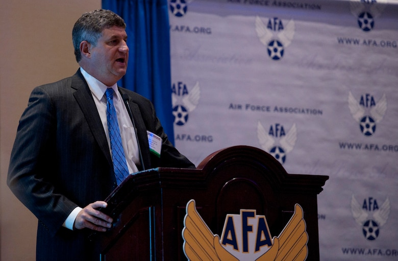 Dr. William LaPlante talks to attendees about Air Force acquisition during the 2014 Air Force Association's Air & Space Conference and Technology Exposition Sept. 16, 2014, in Washington D.C. LaPlante is the assistant secretary of Air Force acquisition. He directs more than $35 billion annual investments that include major programs like the KC-46 Pegasus, F-22 Raptor, F-35 Lightning II, C-17 Globemaster, Space acquisitions, munitions, as well as capability areas such as information technology and command and control, intelligence, surveillance and reconnaissance, or C4ISR, systems. (U.S. Air Force photo/Staff Sgt. Anthony Nelson Jr.)