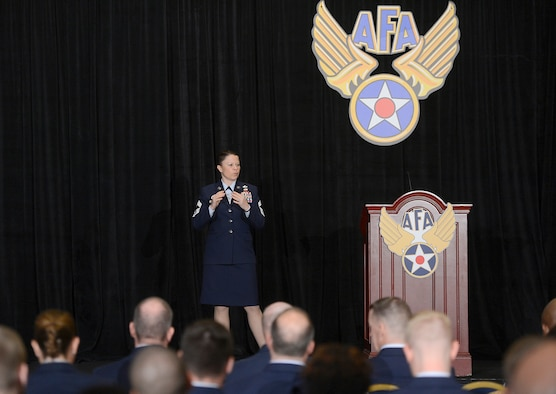 Chief Master Sgt. Brandy Petzel leads a forum Sept. 17, 2014, during the 2014 Air Force Association Air & Space and Technology Exhibition in Washington, D.C. Petzel is the Air Force chief of enlisted force policy and spoke about the need to overhaul the enlisted evaluation and promotion systems. (U.S. Air Force photo/Scott M. Ash)