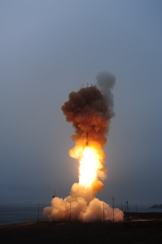 An unarmed Minuteman III intercontinental ballistic missile launches during an operational test at Vandenberg Air Force Base, Sep. 23, 2014, at 7:45 a.m. Col. Keith Balts, 30th Space Wing commander, was the launch decision authority. (U.S. Air Force Photo by Joe Davila/Released)