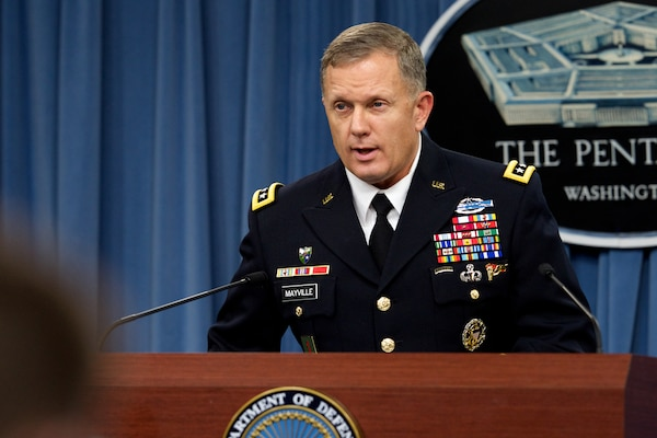 Army Lt. Gen. William C. Mayville Jr., director of operations for the Joint Staff, describes the airstrikes U.S. and coalition forces conducted on ISIL targets in Syria and Iraq during a press briefing at the Pentagon, Sept. 23, 2014. DoD photo by Casper Manlangit.