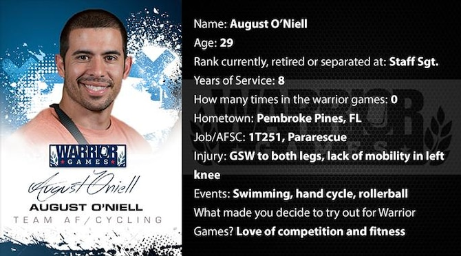 Warrior Games profile for Staff Sgt. August O'Niell. (U.S. Air Force graphic/Corey Parrish)