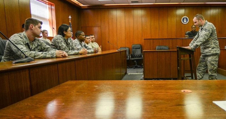 More than 20 first-term Airmen experience jury duty of a simulated sexual assault trial at the 39th Air Base Wing legal office Sept. 12, 2014, Incirlik Air Base, Turkey. The mock trial is now part of the First Term Airmen Center course required for all new Airmen to take at their first duty location. (U.S. Air Force photo by Airman Cory Bush/Released)