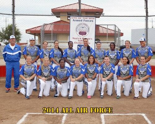 2014 All Air Force Womens Softball Team at the 2014 Armed Forces Womens Softball Championship at Fort Sill, Okla. 14-19 Sept.