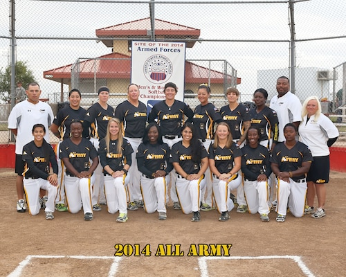 2014 All Army Womens Softball team at the 2014 Armed Forces Womens Softball Championship at Fort Sill, Okla. 14-19 Sept.