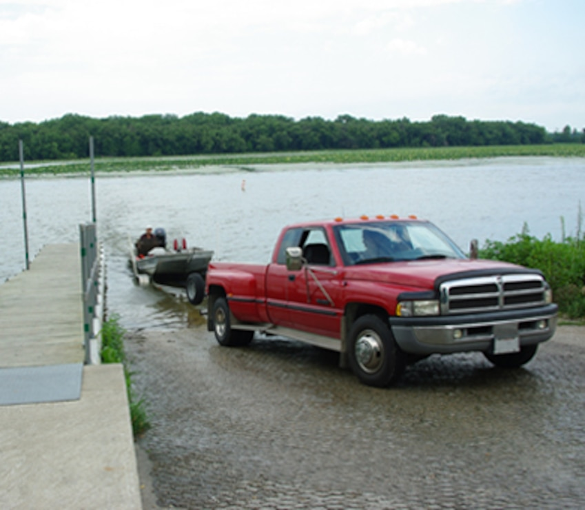 Big Slough boat ramp located four miles north of Thomson, Illinois is a popular access point on the Mississippi River.