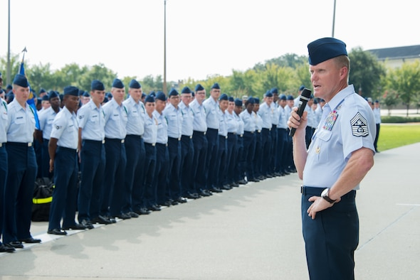 Chief Master Sgt. of the Air Force James A. Cody addresses non-prior service students on the parade field during a two-day visit of the base Sept. 22-23, 2014, Keesler Air Force Base, Miss.  The purpose of the visit was to thank Team Keesler members and further understand the various missions here, including 2nd Air Force, 81st Training Wing and the 403rd Wing. (U.S. Air Force photo by Marie Floyd)