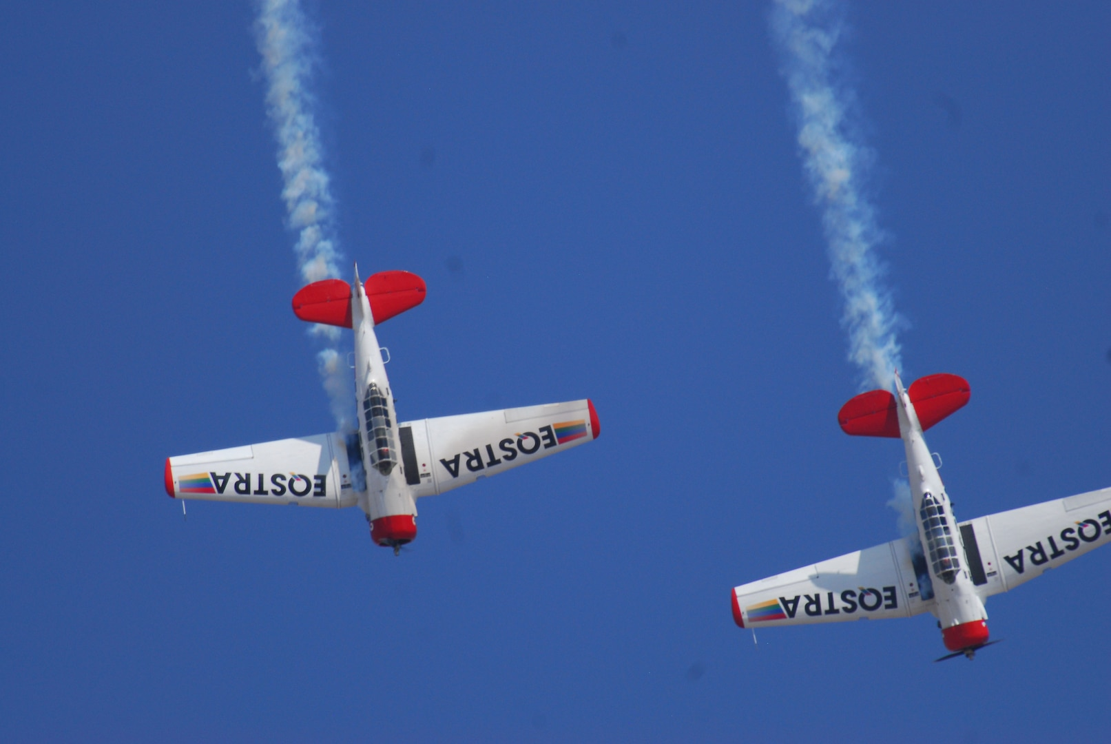 Aircraft of the Flying Lions Aerobatics Team perform in their North American AT-6 Harvard Trainers during the African Aerospace & Defense Exposition outside Pretoria, South Africa, Sept. 17, 2014. The New York Army and Air National Guard sent 15 Airmen and Soldiers, a C-17 Globemaster III transport and an RQ-7 Shadow unmanned aerial vehicle to participate in the show. They were part of a U.S. contingent of 100 service members.