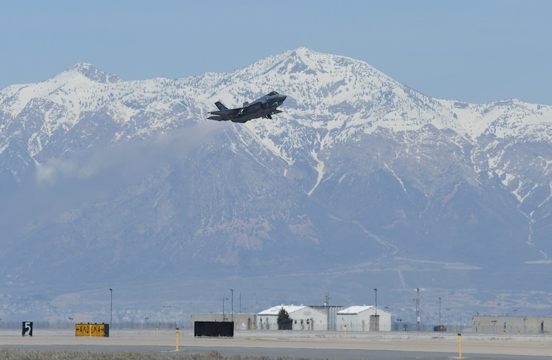 An F-35A Lightning II takes off March 25, 2014, from Hill Air Force Base, Utah en route to Nellis AFB, Nev. It was the first F-35 to receive organic modifications at the Ogden Air Logistics Complex at Hill AFB. The aircraft arrived at Hill AFB in September 2013 and received four structural modifications intended to strengthen areas of the aircraft and extends its service life. The Ogden ALC is expected to perform the series of modifications on a total of six F-35s during fiscal year 2014. Eight F-35s are expected to be inducted into the depot in fiscal year 2015. (U.S. Air Force photo/Alex R. Lloyd)