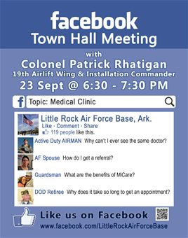 Base conducted Medical Clinic Facebook Town Hall > Little Rock Air