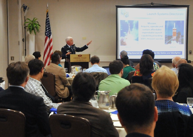 U.S. Air Force Col. William R. Hodgkiss, director of Launch Systems Directorate, Space and Missile Systems Center at Los Angeles Air Force Base, speaks about Responsive Space during the American Institute of Aeronautics and Astronautics Los Angeles-Las Vegas meeting in El Segundo, Calif., Sept. 18, 2014. (U.S. Air Force photo by Sarah Corrice)