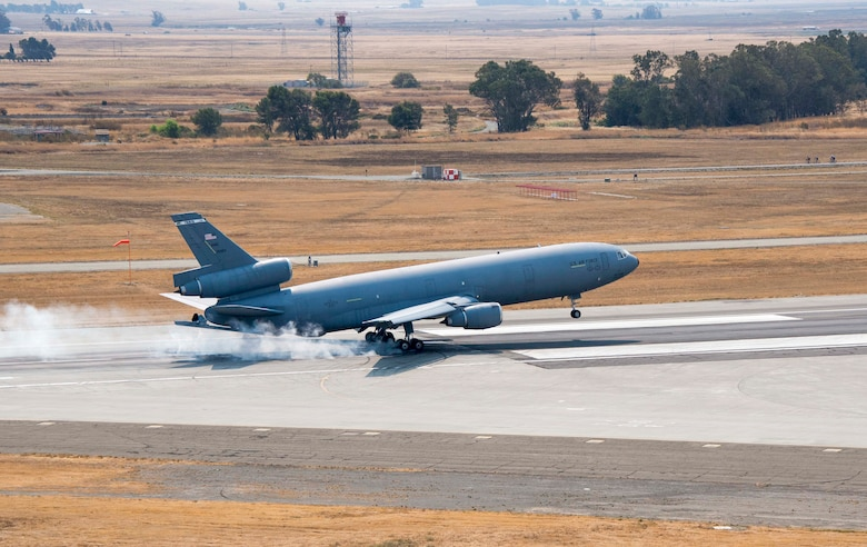 A KC-10 Extender lands Sept. 19 at Travis Air Force Base. The aircraft has been part of Travis' mission for 20 years. (U.S. Air Force photo/Heide Couch)