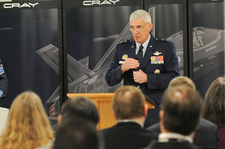 AFRL commander Maj. Gen. Thomas Masiello discusses the major impact that the Lightning supercomputer will have on AFRL and DoD research and testing, during the September 23 ribbon cutting ceremony. (U.S. Air Force photo by Wesley Farnsworth)