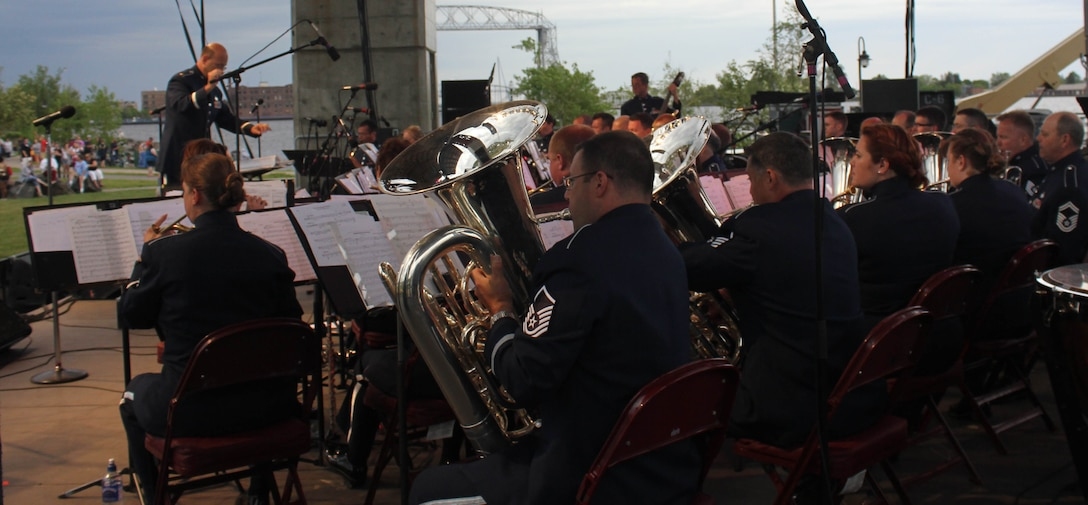 Instrumentalists with the Air National Guard Band of the Midwest perform for audiences during annual training at the Bayfront Festival Park, Duluth, Minn., July 4, 2014. They performed jazz, rock and concert music for audiences in Illinois and Wisconsin as part of their community relations tour before a grand finale in Minnesota July 4. The annual concert series was the result of a year's worth of training and practice, one that the band used to celebrate patriotism with communities across the Midwest. (Courtesy photo/Released)
