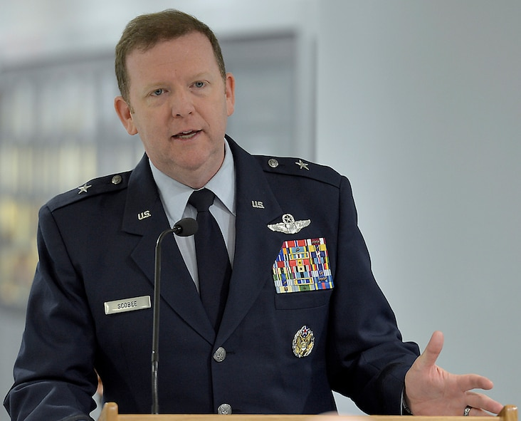 Scobee presides over the retirement ceremony for Col. Michael Ricci earlier this year at the Pentagon. The general has served around the world during his distinguished career and he is excited about returning to Naval Air Station Joint Reserve Base Fort Worth, Texas, to serve as 10th Air Force commander. (Michael J. Pausic)