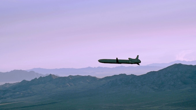 An unarmed AGM-86B Air-Launched Cruise Missile maneuvers over the Utah Test and Training Range en route to its final target during a Nuclear Weapons System Evaluation Program simulated combat mission Sept. 22, 2014. The ALCM, released from a B-52H Stratofortress flown by the 2nd Bomb Wing, Barksdale Air Force Base, Louisiana, was part of an end-to-end operational evaluation of 8th Air Force and Task Force 204's ability to deliver the weapon from storage to its final target. (Photo by Staff Sgt. Roidan Carlson)