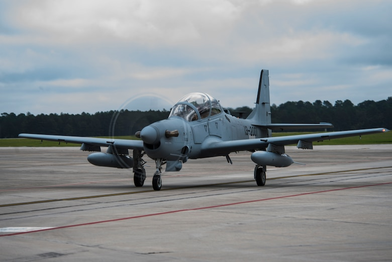 Chris Carlson, a Sierra Nevada Corporation senior pilot, taxis an A-29 Super Tucano on the flightline during its first arrival, Sept. 26, 2014, at Moody Air Force Base, Ga. The Afghan Air Force will implement the A-29 as their current air-to-ground aircraft, the Mi-35 attack helicopter, reaches its end of service life in January 2016. (U.S. Air Force photo/Airman 1st Class Dillian Bamman)