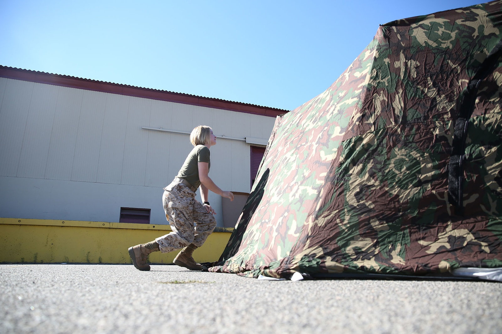 Private Sarah Trull, a fiscal clerk with Marine Air Group 39, puts together an Arctic shelter Aug. 29, 2014, aboard Camp Pendleton, California. The system is an ultra-lightweight, rapidly deployable shelter that offers military forces the necessary infrastructure to operate in austere cold-weather locations. The system is being used for training exercises in Bridgeport, California, and is slated to be integrated into exercises early next year. (U.S. Marine Corps photo by Sgt. Laura Gauna/released)
