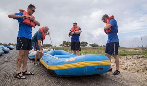 Teams participate in The Rambler 120 Race, which includes running, biking, rafting and a mystery event, was held at Joint Base San Antonio Recreation Park at Canyon Lake Sept. 20.  Twenty-nine teams competed in the 22-mile bike course, 6-mile run 2-mile rafting event and the frisbee golf mystery event. (U.S. Air Force photo by Joshua Rodriguez) (released)